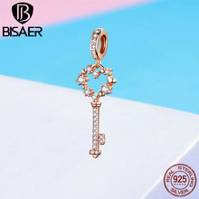BISAER 925 Sterling Silver Heart Key Pendant Charm for Charm Bracelet and Necklace Rose Gold Color Fashion Jewelry GXC1122 bisaer 100%real 925 sterling silver rose gold color heart apple sakura shape pendant necklace for women fashion gift hsn313