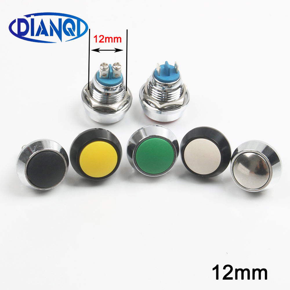 12 мм водонепроницаемый мгновенный 1NO купольный кнопочный переключатель pin/винтовой терминал сброс кнопка алюминиевого черного цвета ВКЛ-ВЫ...
