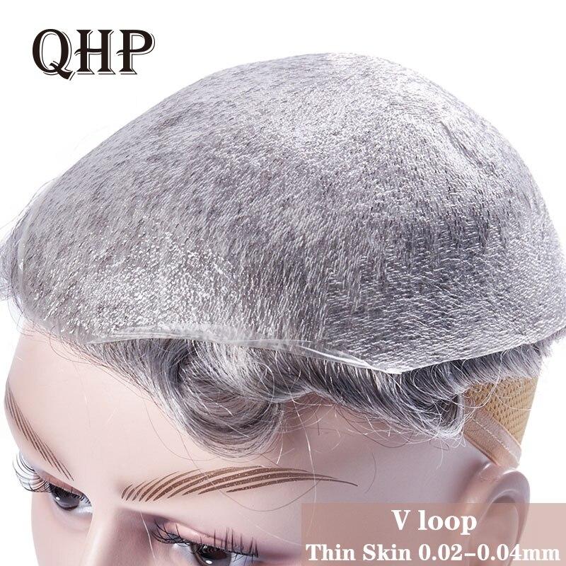 Peruca feita à mão pura da peruca 8x10 0.02 dos homens do toupee da pele fina de qhp 0.03-Polegada mm sistemas indianos da substituição do cabelo humano de remy peruca dos homens