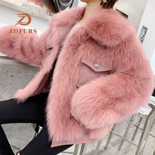 ZDFURS *2019 New Women Fox Fur Coat button style leather jacket Winter ladys Fashion Real Jackets with  Collar