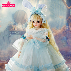 23.6'' 1/3 BJD Doll 18 Ball Joint Doll 60CM Large SD Dolls With Full Outfits Dress Wig Shoes Makeup Girls Dress UP Toys