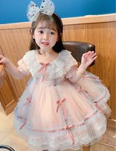 Baby girl 1 year old birthday party dress lace bow princess dress Lolita gauze dress beautiful costume for toddler baby girl(China)