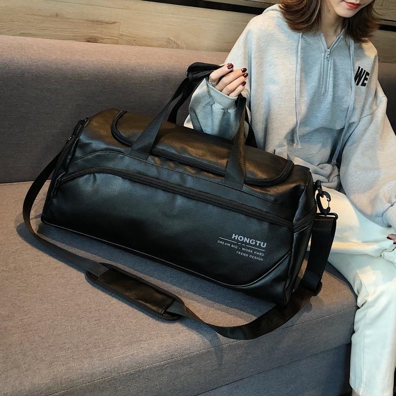 2019 New Large Capacity PU Leather Fitness Bag Men And Women Sports Bag Multi-function Travel Bag Shoulder Black Handbag