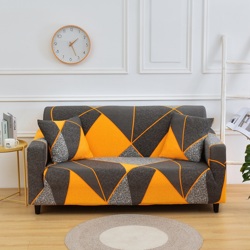 Printed and All Wrapped Sofa Covers with Elastic and Straps for Corner and Sectional Sofa in Home and Office 5