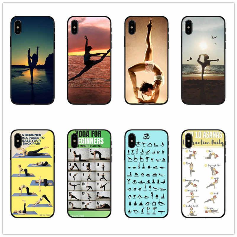 Yoga Balo Cô Gái nhảy cô gái nghệ thuật vẽ cho iPhone 8 7 6 6S 6S Plus X XS MAX 5 5 5S SE XR silicon mềm TPU đen Ốp điện thoại
