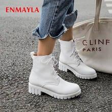 Женские ботинки на шнуровке enmayla с круглым носком квадратном