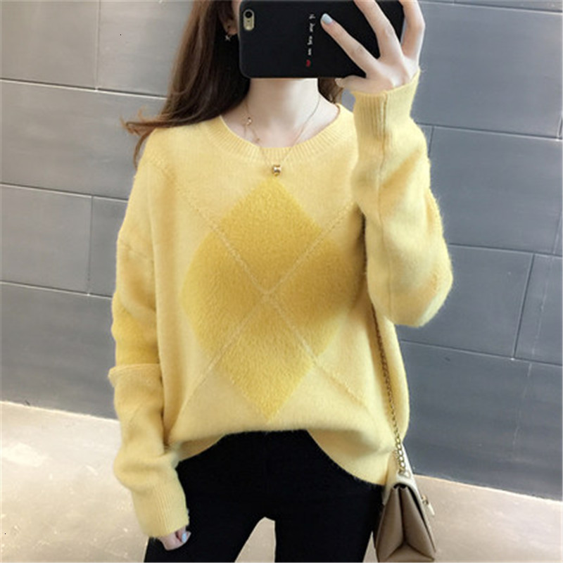 Simple Geometry Casual O-Neck Loose Warm Knitted Sweater Pullover Autumn Knitwear Sueter Mujer Long Sleeve   Winter Women New