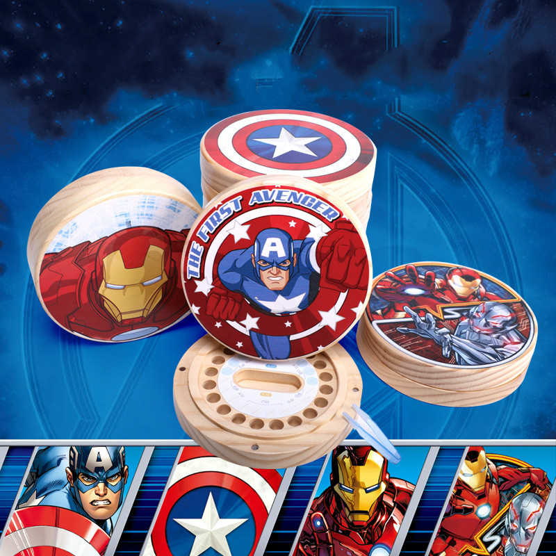 Wooden Tooth House Avengers Baby Teeth Box Boy Captain Shield Iron Man Spider Children Girl Boy Teeth Collection Baby Tooth Box