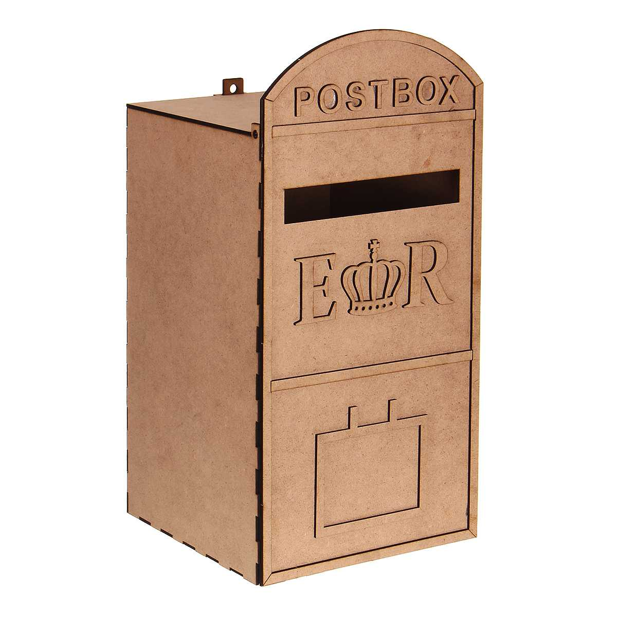 Mail Styled Wedding Card Post Box Wooden DIY Postbox With A Key Carved Gift Card Boxes Weddings Decoration Accessories