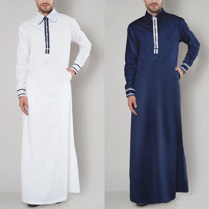 INCERUN 2021 модный мужской Арабский мусульманский кафтан элегантный с длинным рукавом Пэчворк Саудовская Аравия халаты с отворотом абайя ислам...