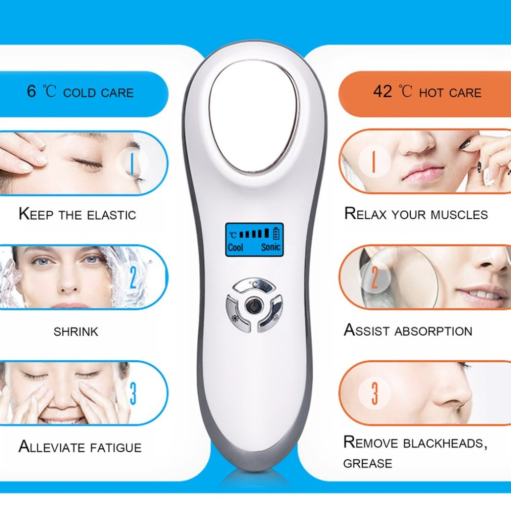 Ellectric EMS LED Hot Cold Hammer Ultrasonic Cryotherapy Facial Lifting Vibration Massager Face Body Spa Ion Beauty Instrument