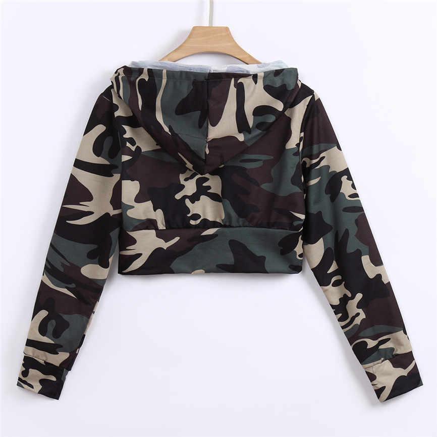 2019 automne nouveau Cool sweats à capuche femmes mode Camouflage imprimé chemise à manches longues Blouse à capuche courte en tricot sweat-Shirt