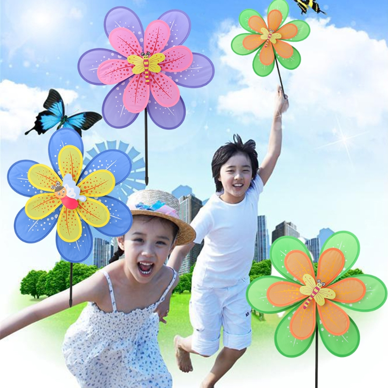 Double Layer Flower Windmill Colorful Wind Spinner Yard Garden Decor Kids Toy