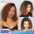 Эффектом деграде (переход от темного к вьющиеся парики 1b/27 Бразильский вьющиеся Синтетические волосы на кружеве человеческих волос парики ...