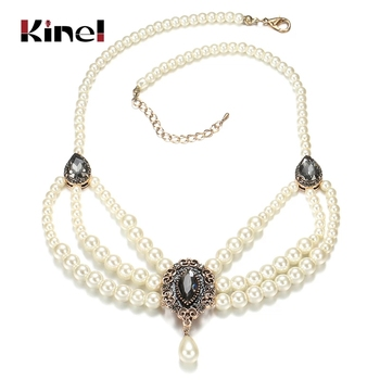 Kinel 2020 New Vintage Multilayered Beads Chain Romantic Choker Necklace Simulated Pearl Necklace For Morocco Women Jewelry 1