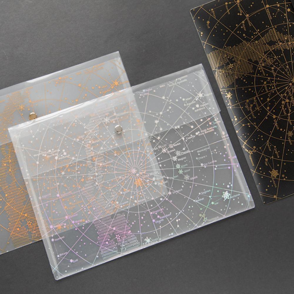 A4 Fantasy Star Storage Bag Bronze Laser Transparent Pocket Pp File Bag Originality Folder School Stationery Support Kawaii