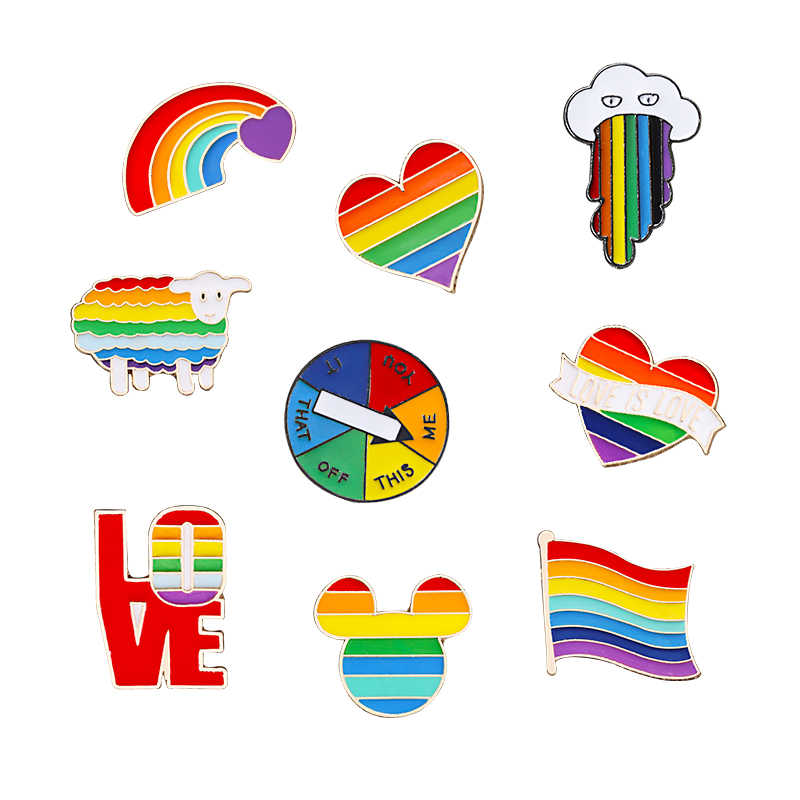 Rainbow Pins Creative Finger Game Turntable Brooch Cartoon Sheep Mouse Cloud Colored Lapel Pin Heart Jackets Lapel Badge Jewelry