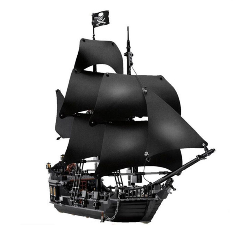 Black Pearl Ship Compatible Pirates 4184 4195 Caribbean Model Building Blocks Boys Birthday Christmas Gifts Kids Toys