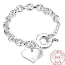 Heißer Verkauf 925 Sterling Silber Glück Armbänder Manschette Mode Liebe Herz Kette Armreif Frauen Damen Mädchen Schmuck Geschenk Silber