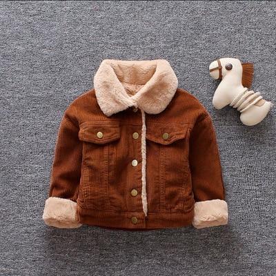 Boy's New Fashion Korean Pocket Coat Plus Velvet Children's Padded Jacket Autumn Winter Warm Jacket Outwear Infant Girl Clothes