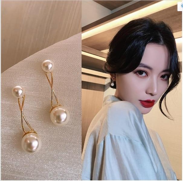Cross Imitation Pearl Female Elegant Earrings Simple Temperament Korean Fashion Sweet Delicate Earrings Bride Wedding Jewelry