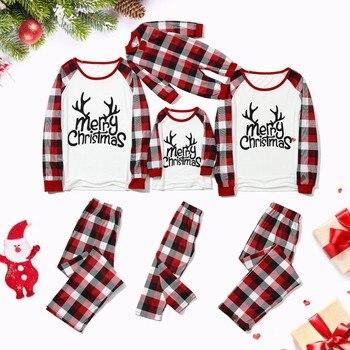 Pijamas de navidad a juego para Familia, ropa a cuadros con estampado de ciervo, Tops de manga larga + Pantalones, conjunto a juego, de navidad familiar