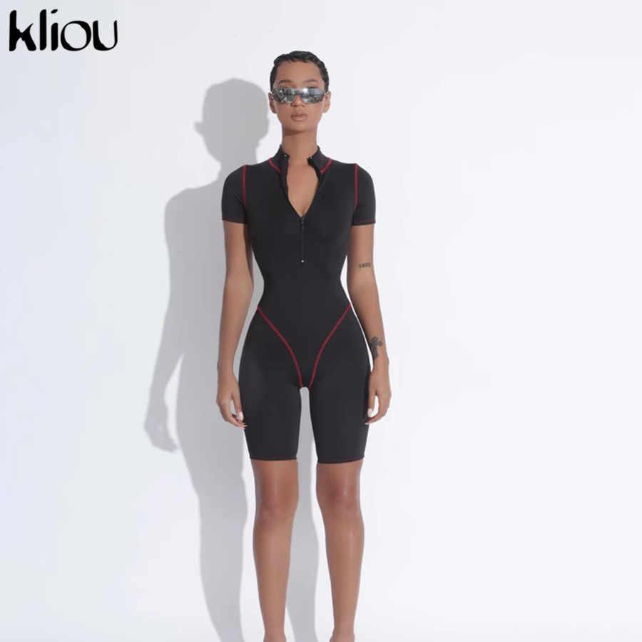 Kliou mulher fitness desportivo ativo alta elástica macacão casual fino zíper macacão treino manga curta bodysuits moda 2020