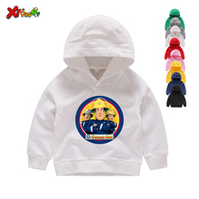 Children Hoodies Fireman Sam Pattern Print Sweatshirts Boy & Kids Cotton White Clothes