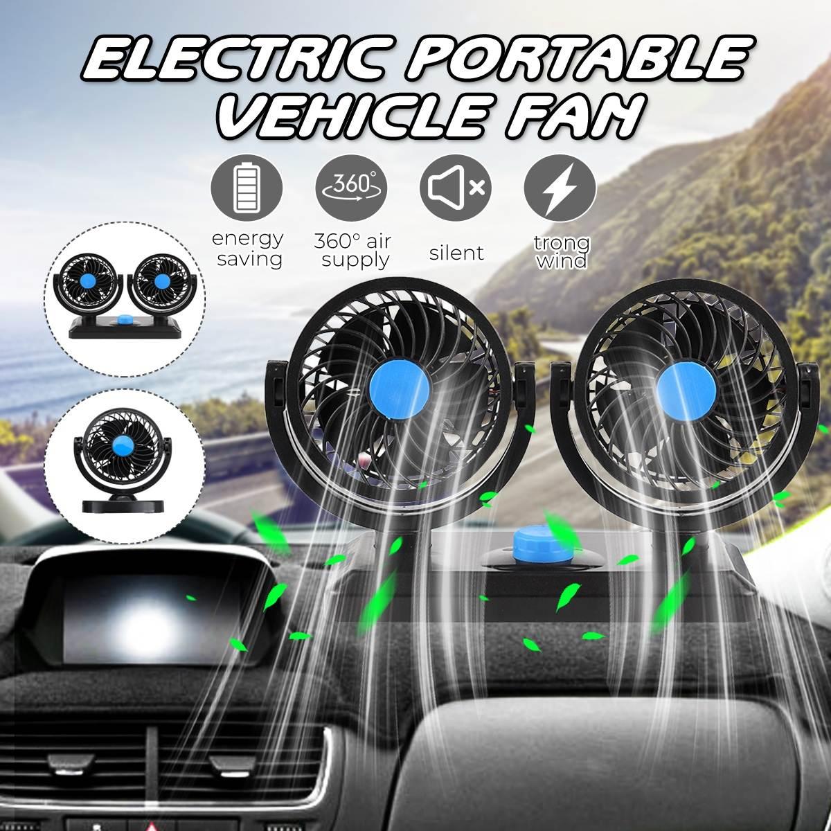 12V Mini Electric Car Fan Low Noise Car Air Conditioner 360 Degree Rotating Cooling Fan Car Cooler Ventilador Summer