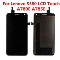Para lenovo a780 s580 display lcd a785e tela de toque digitador assembléia painel quadro peças reposição para lenovo s580 display