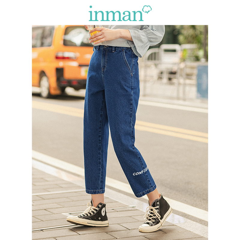 INMAN 2019 Winter New Arrival 100%Cotton Embroidery Slim All Matched Pencil Pants Women Jeans