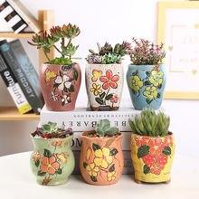 Цветной керамический Мини цветочный горшок Ручная роспись милые