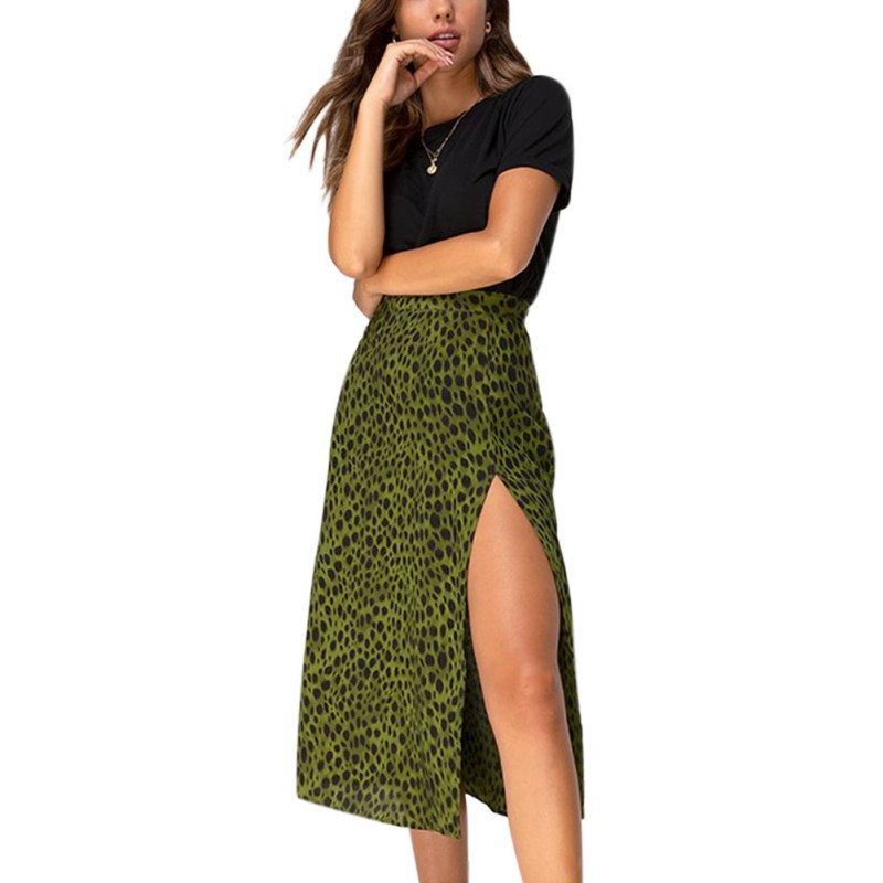 Leopard Print High Waist Long Thin Split Skirt Women Autumn Winter Lace-Up A Skirt Green Half Open Short Dress