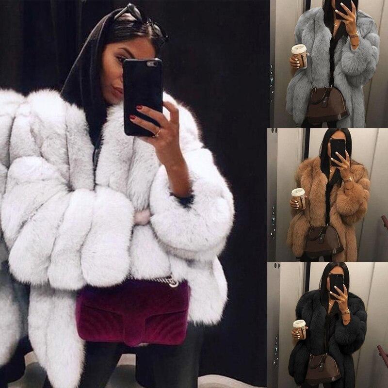 Women Faux Fur Coat Winter Luxury High Quality Thick Women Overcoat Warm Plus Size Plush Furry Female Jacket Coat Outerwear 5XL