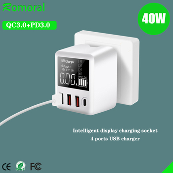 QC3.0 USB Charger 30/40W Quick Charge Wall Travel Mobile Phone Adapter with LED Display For iPhone Xiaomi Huawei Samsung
