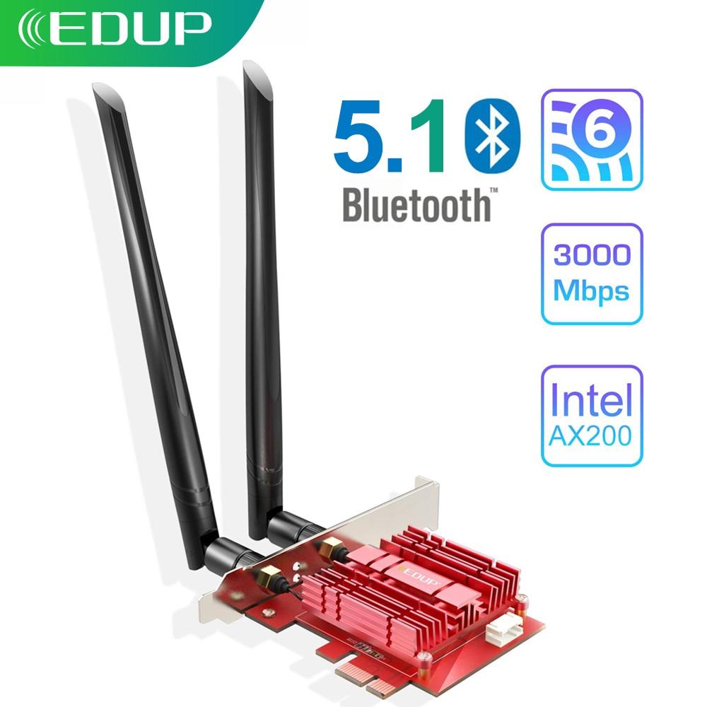 Edup 3000Mbps Wifi 6 Pci Express Bluetooth 5.1 Adapter Dual Band 2.4G/5Ghz 802.11ac/Ax Intel AX200 Pcie Draadloze Netwerkkaart