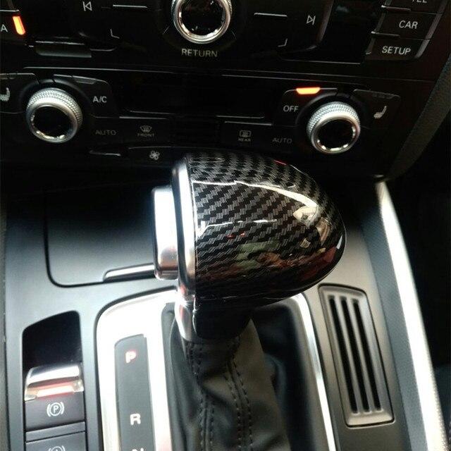 자동차 스타일링 콘솔 기어 쉬프트 핸들 헤드 프레임 커버 아우디 A4 B8 B9 A5 A6 A7 Q7 Q5 용 탄소 섬유 스티커 인테리어 액세서리
