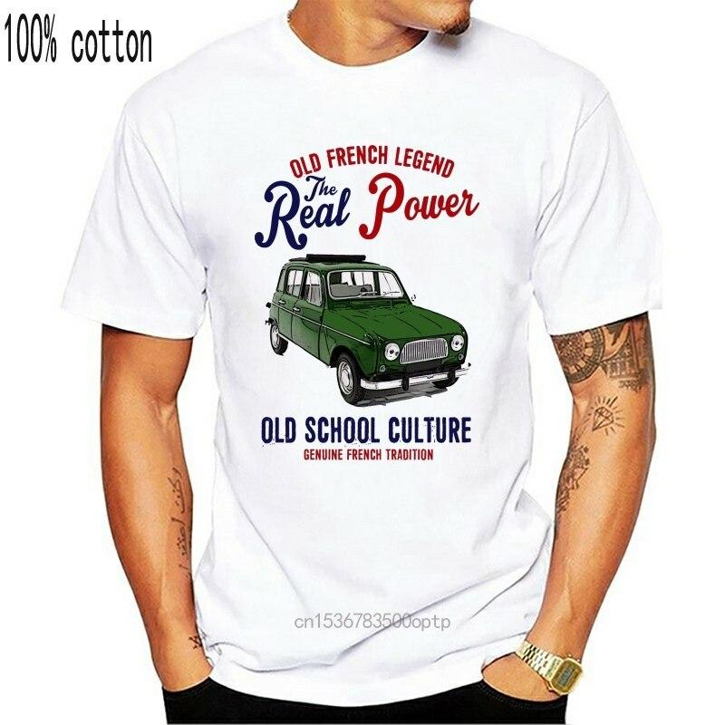 Винтажная французская машина RENAULT 4L, открытая крыша, новая хлопковая футболка