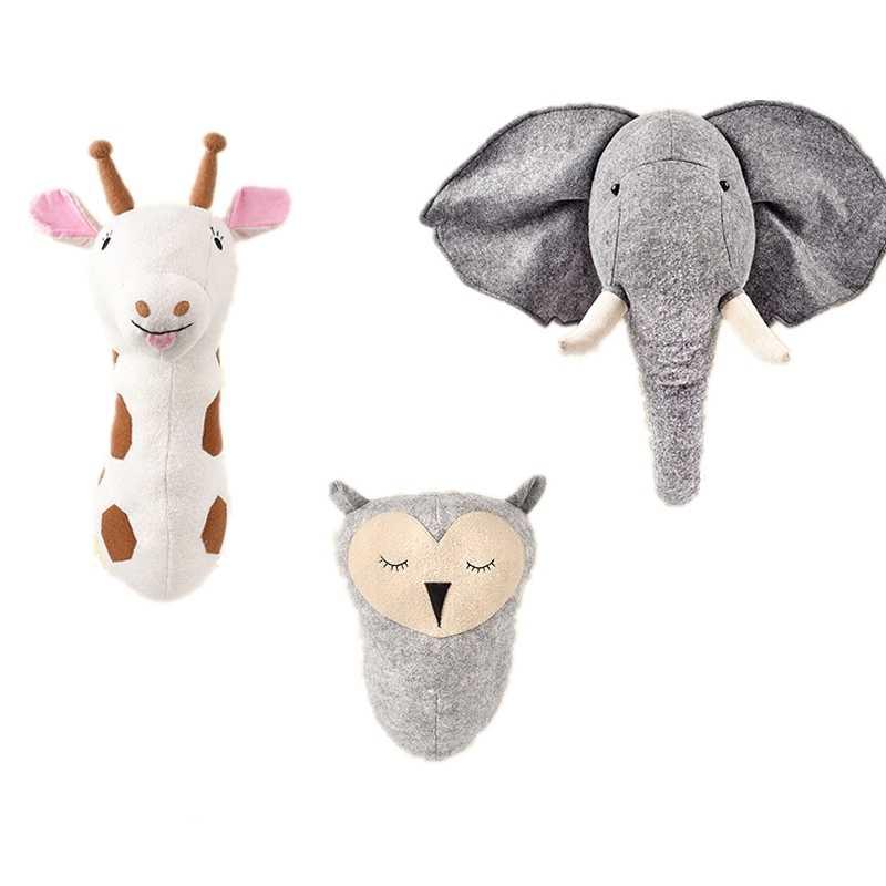 ช้าง PANDA ยีราฟสัตว์ Wall ตกแต่งตุ๊กตางานศิลปะแขวนผนังของเล่น Nordic Home Room ภาพพื้นหลังตุ๊กตาตุ๊กตา