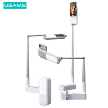 USAMS soporte plegable para teléfono, soporte de brazo, Clip, montaje de tableta para maquillaje, Control remoto inalámbrico en vivo