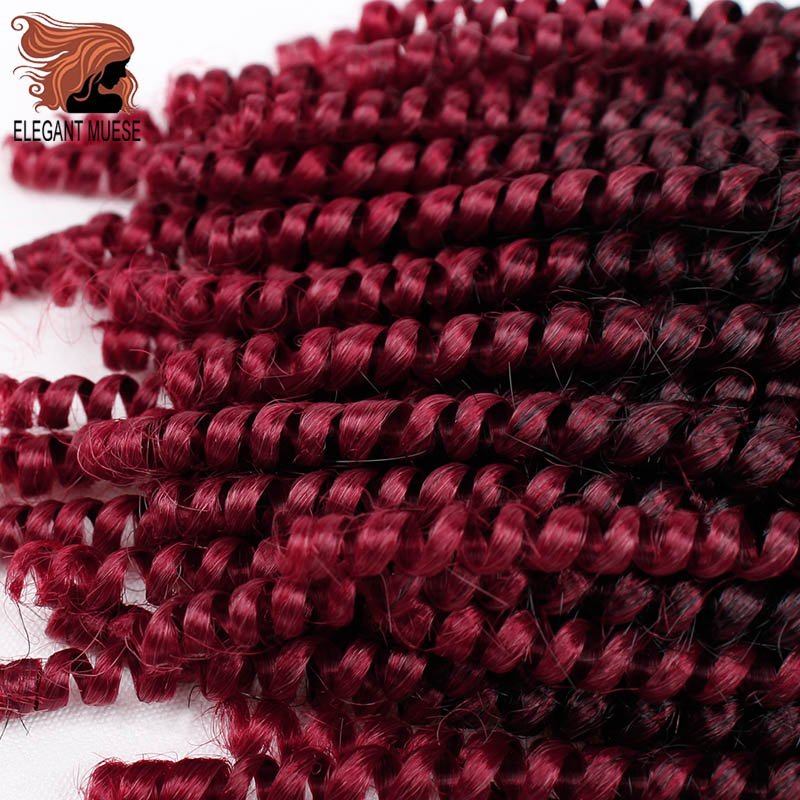 ELEGANT MUSES Fluffy Spring Twist Hair Extensions Black Brown Burgundy Ombre Crochet Braids Soft Synthetic Braiding Hair