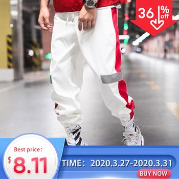 Privathinker boczne paski utwór spodnie do biegania mężczyźni 2020 odblaskowe etykiety utwór Harem spodnie Homme Streetwear mężczyzna HipHop tanie i dobre opinie Mieszkanie Poliester Boczne paskiem REGULAR Pełnej długości Men Harem Pants Hip Hop Midweight Suknem Kostki długości spodnie