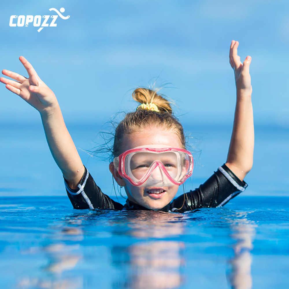 COPOZZ duikbril kids Volledige gezicht HD Anti Fog Scuba Masker Onderwater snorkel masker set Kids Zwemmen Snorkel Duikuitrusting