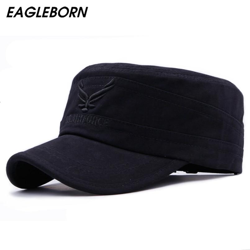 EAGLEBORN 2021 Cotton Embroidered Eagle Flat Top Cap Women Men Snapback Caps Vintage Army Hat Cadet Military Patrol Cap Unisex