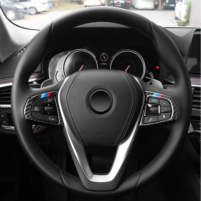 Carbon Fiber Car Styling Interior Steering Wheel buttons Trim Cover Sticker Accessories For <font><b>BMW</b></font> 5 Series 6GT <font><b>X3</b></font> <font><b>G01</b></font> G30 G32 G38 image