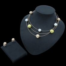 Yulaili New Fashion Dubai Gold Jewelry Set for Women African Beads Round Shape Charm Necklace Stud Earrings Wedding  Jewellery