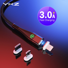 YKZ Magnetic cable Micro USB Cable for iPhone X Samsung Xiaomi 3A Fast charging USB Type C cable cord wire magnet Data cables все цены