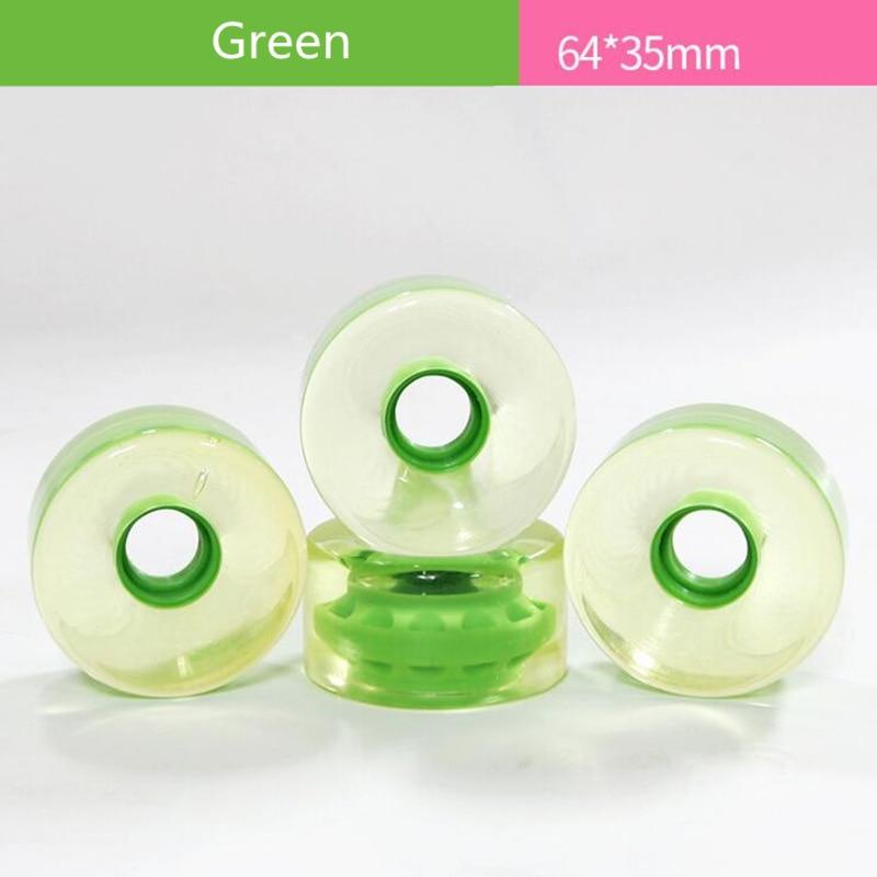 64X35mm Skate Board Wheel With Transparent Green Durable 82A PU Skateboard Long Board Roadboard Sing Rocker Skateboard Tyre 4pcs