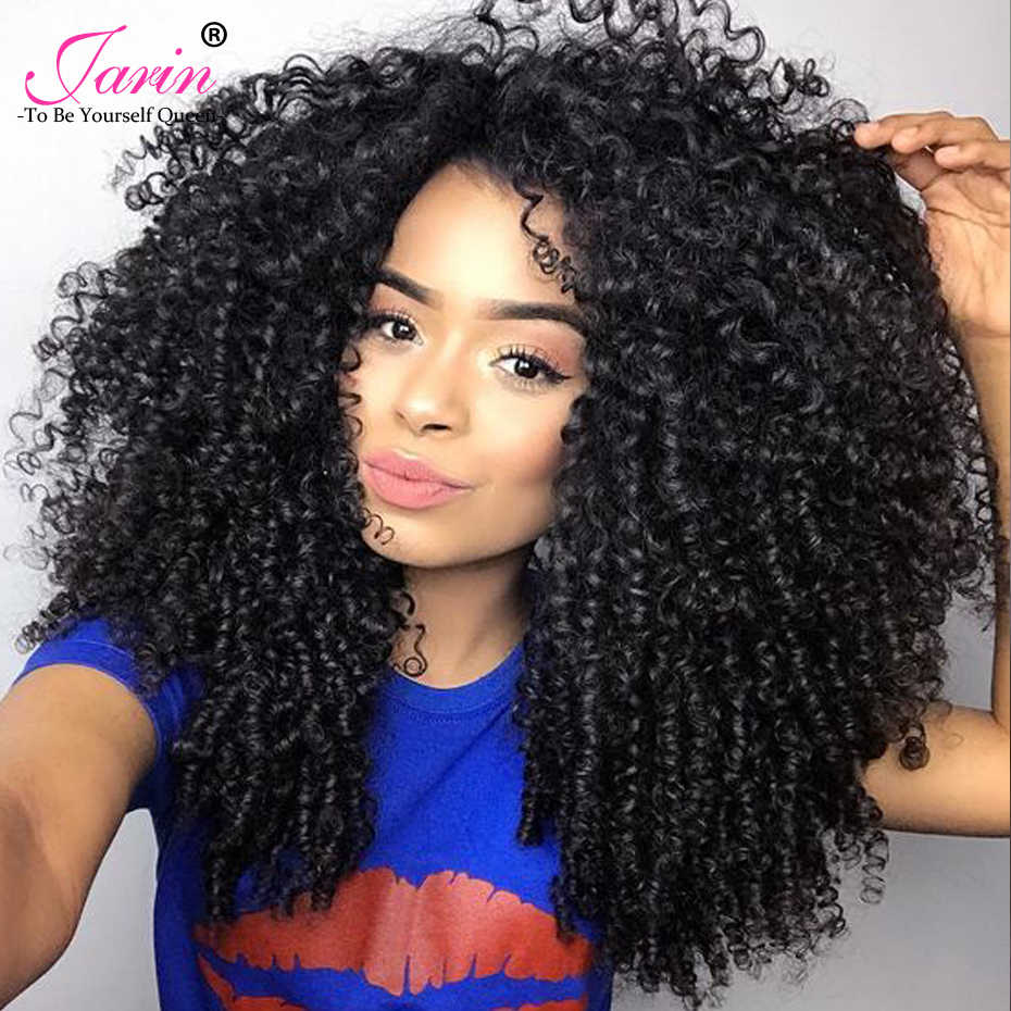 Mongolian Afro Kinky Curly Hair Weave 3 Bundles Deal With Closure Natural Color 8-20 inches 100% Remy Human Hair Extension Jarin