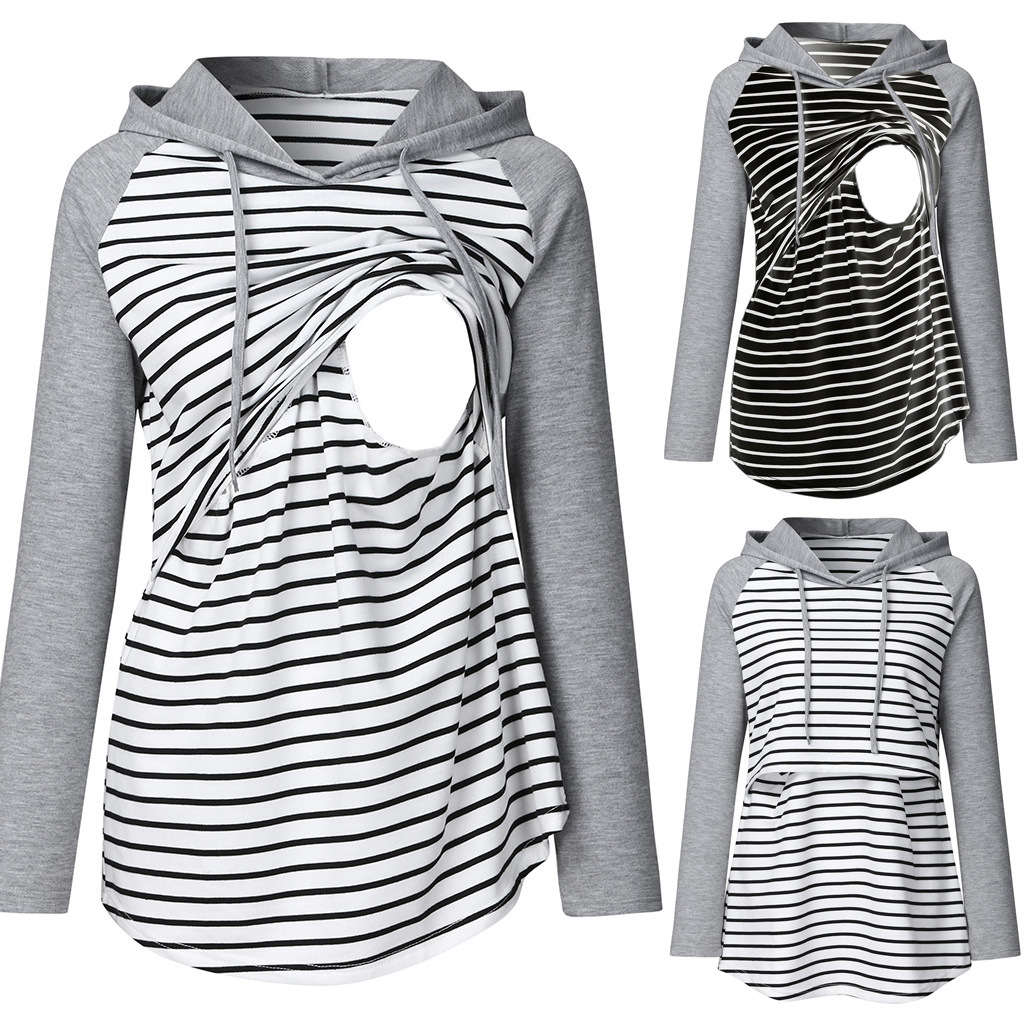 Women's Maternity Clothes Sweatshirt Hoodie Striped Long Sleeve Breastfeeding Pregnancy Tops Layered Nursing Pregnant Clothes